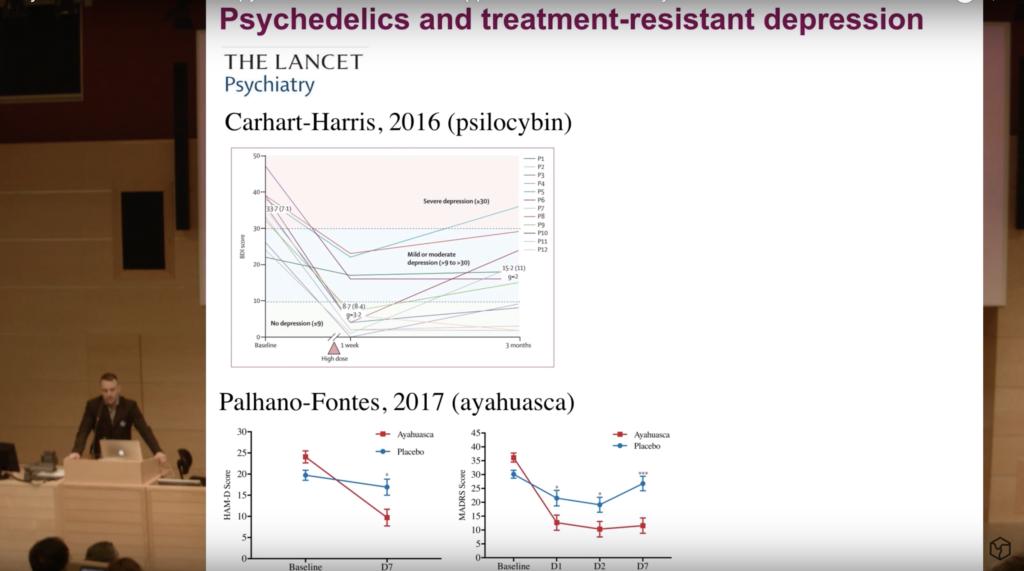 Александр Лебедев делает научный доклад на тему психоделической терапии